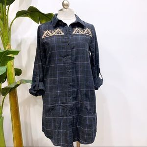 Entro Plaid Embroidered Dress